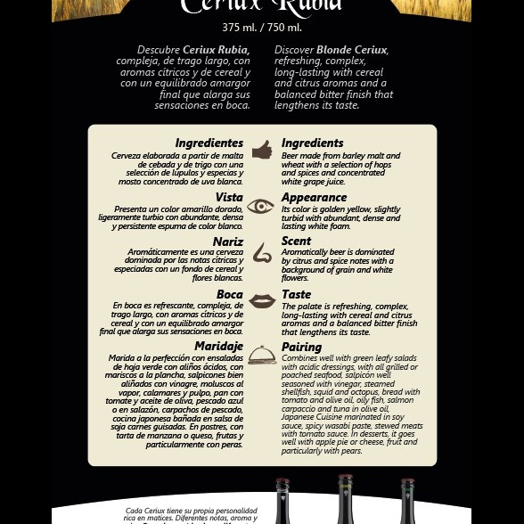 Ficha de producto Cerveza Ceriux Rubia