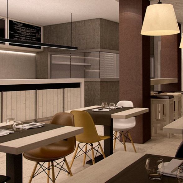 Interior 3D Cafetería Victoria