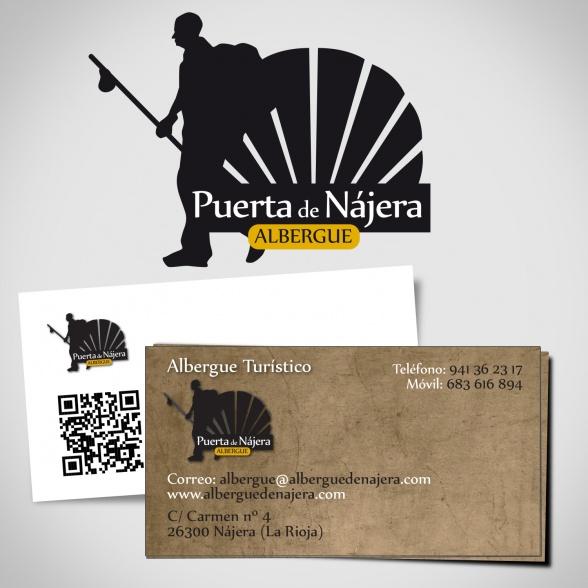 Logotipo y Tarjetas Albergue Puerta de Nájera