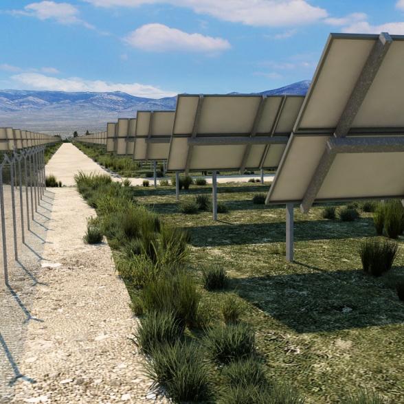 Detalle proyecto planta solar energía renovable