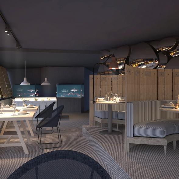 interior nocturna restaurante