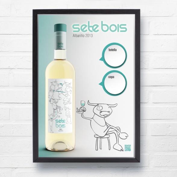Cartel Sete bois copa botella