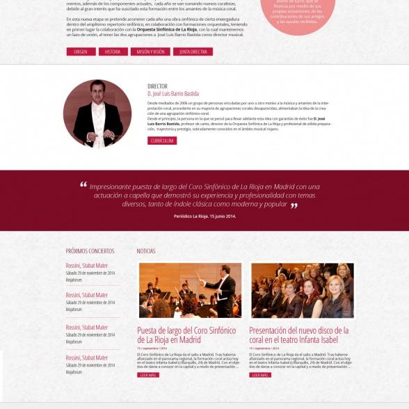 Portal web adaptable de Coro Sinfónico de La Rioja