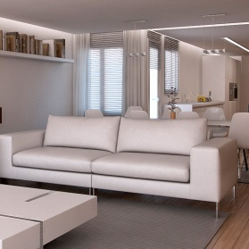 Interiores 3D para apartamento Entre 3 Interioristas