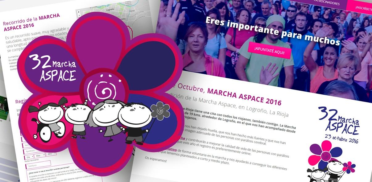 Marcha Aspace. Microsite y Plataforma de inscripción online