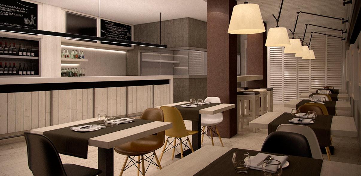 Infoarquitectura de interiores 3D para Cafetería Victoria